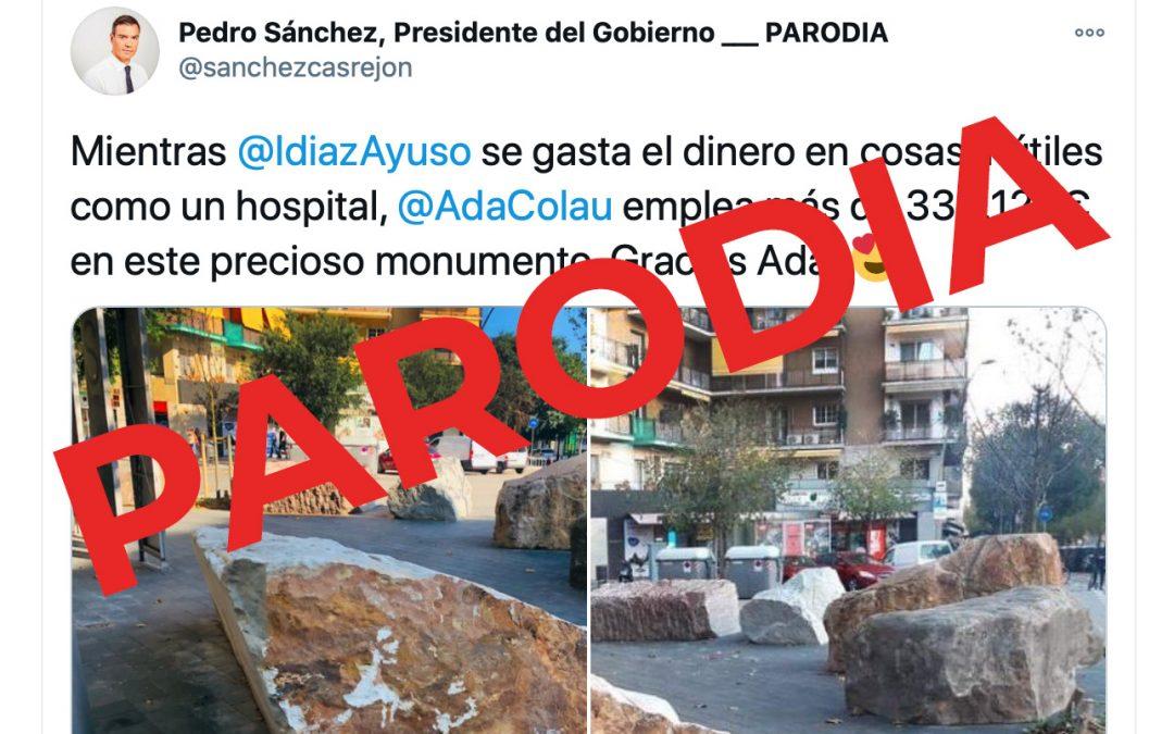Pedro Sánchez no ha comparado el Zendal con el monumento a la cárcel de les Corts, el tuit pertenece a una cuenta parodia